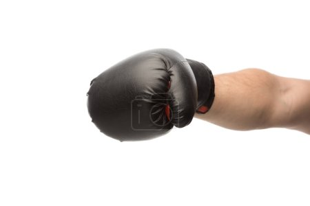 Photo for Cropped view of man punching in boxing glove isolated on white - Royalty Free Image