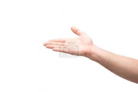 Photo pour Vue recadrée de l'homme pointant avec la main isolée sur blanc - image libre de droit