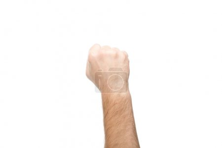 Photo for Cropped view of man showing fist isolated on white - Royalty Free Image