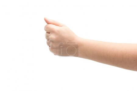 Photo pour Cropped view of man showing fist isolated on white - image libre de droit