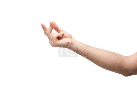 Photo pour Crochet vue d'un homme montrant un geste de méditation isolé sur blanc - image libre de droit