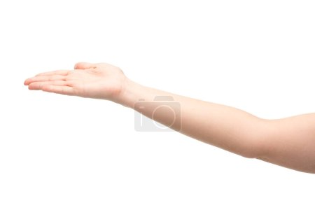 Photo for Cropped view of woman pointing with hand isolated on white - Royalty Free Image