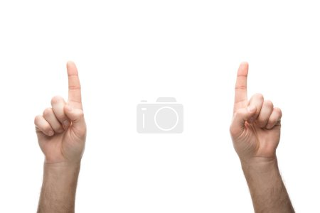 Photo for Cropped view of man showing idea sign isolated on white - Royalty Free Image