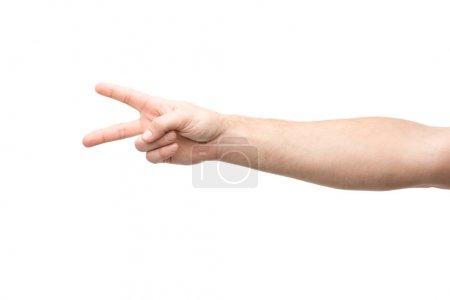 Photo pour Vue recadrée de l'homme montrant signe de paix isolé sur blanc - image libre de droit