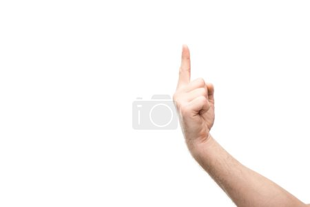 Photo for Cropped view of man showing one finger gesture isolated on white - Royalty Free Image