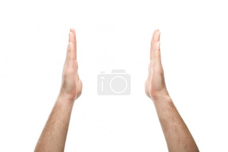 Photo for Cropped view of man showing hold gesture isolated on white - Royalty Free Image