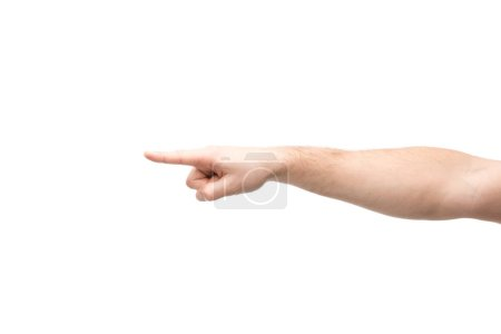 cropped view of man pointing with finger isolated on white