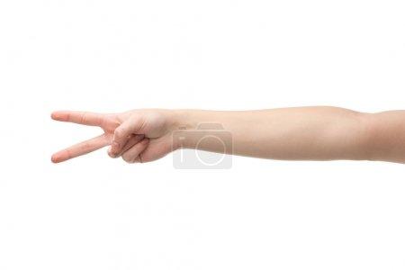 Photo pour Vue recadrée de la femme montrant geste de paix isolé sur blanc - image libre de droit