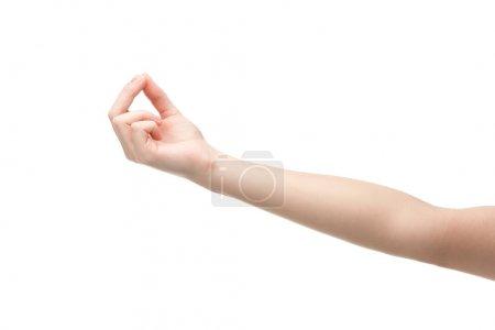 Photo pour Vue recadrée de la femme montrant geste de méditation isolé sur blanc - image libre de droit