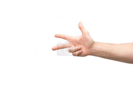 Photo for Cropped view of man showing three fingers isolated on white - Royalty Free Image