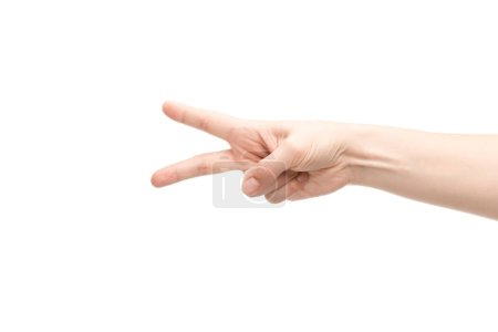 Photo pour Crochet vue d'une femme montrant un geste de paix isolé sur blanc - image libre de droit