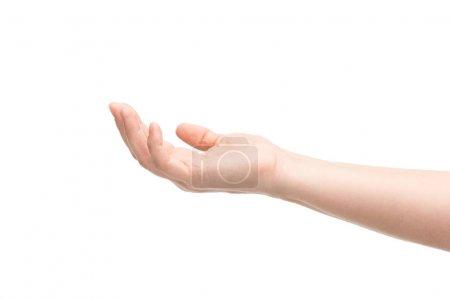 Photo pour Vue recadrée de la femme pointant avec la main isolée sur blanc - image libre de droit