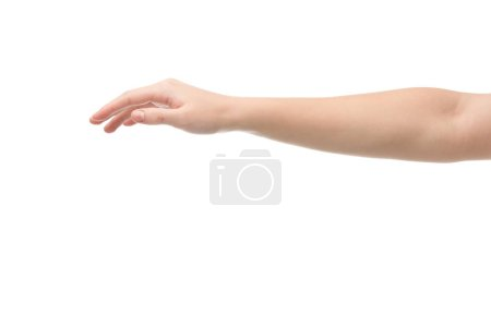 Photo pour Cropped view of woman with outstretched hand isolated on white - image libre de droit