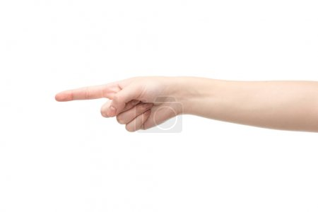 cropped view of woman pointing with finger isolated on white