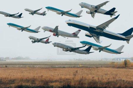 Photo pour Ciel nuageux avec des avions au-dessus de la piste de l'aéroport - image libre de droit