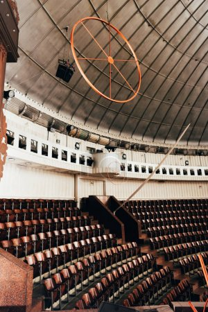 Photo for Empty amphitheater with seats and constructions in circus - Royalty Free Image