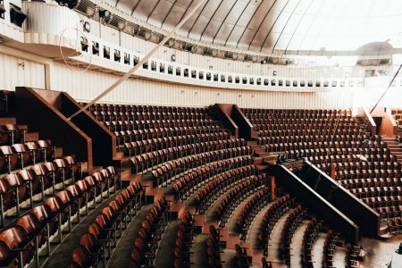 Photo for Rows of empty wooden seats in circus - Royalty Free Image
