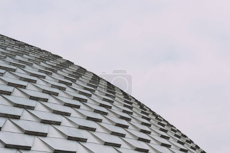 Low angle view of geometric pattern on roof of building