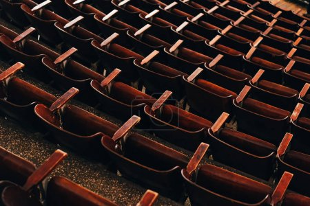 High angle view of rows of seats in circus amphitheater