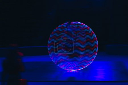 Photo for Neon circle with abstract pattern on black background - Royalty Free Image
