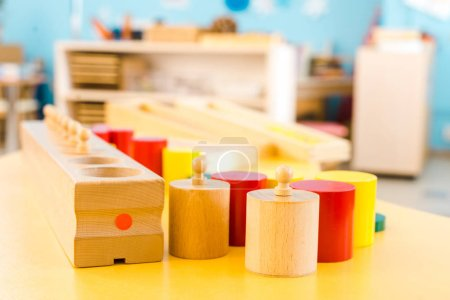 Photo for Selective focus of wooden educational games on table in class - Royalty Free Image