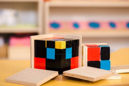 Photo for Selective focus of educational game with building blocks on school table - Royalty Free Image
