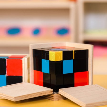 Photo for Selective focus of colorful educational game with wooden blocks on desk - Royalty Free Image