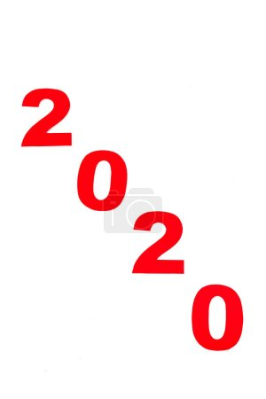Photo for Top view of red 2020 number isolated on white - Royalty Free Image