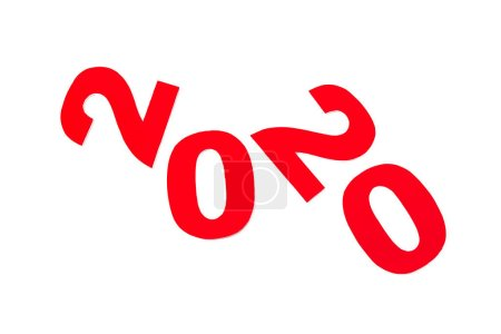 Photo pour Vue du haut du numéro rouge 2020 isolé sur blanc - image libre de droit