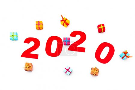 Photo for Top view of red 2020 number and gifts isolated on white - Royalty Free Image