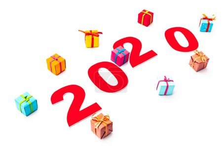 Photo for Red 2020 number and gifts isolated on white - Royalty Free Image