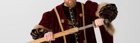 Foto de Foto panorámica de la espada de retención del rey aislada en gris - Imagen libre de derechos