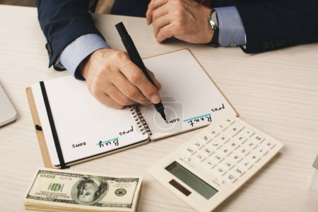 Photo for Cropped view of agent writing in notebook with rent and buy lettering near dollar banknotes and calculator - Royalty Free Image
