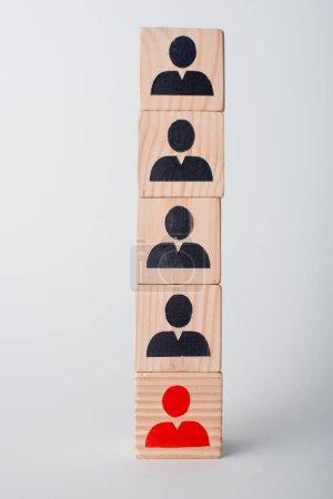 Photo pour Cubes en bois sur blanc, concept des droits de l'homme - image libre de droit