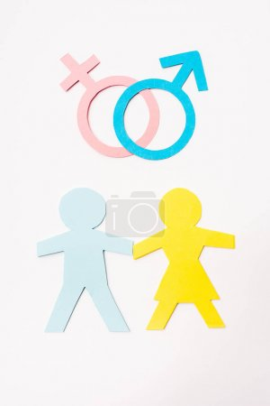 top view of paper cut people near gender signs isolated on white, sexual equality concept