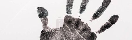 Photo for Panoramic shot of black print of hand isolated on white, human rights concept - Royalty Free Image