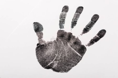 Photo for Top view of black print of hand isolated on white, human rights concept - Royalty Free Image
