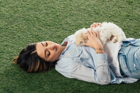 alto ángulo vista de la mujer sosteniendo cachorro de Havanese y acostado en la hierba