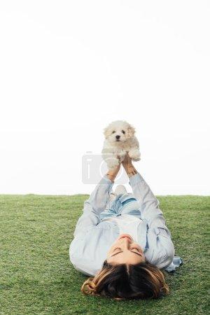 Photo pour Femme couchée sur l'herbe et tenant chiot Havanais isolé sur blanc - image libre de droit