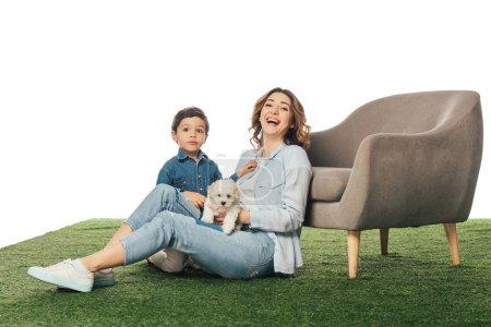 Photo pour Mère souriante avec chiot et fils Havanais regardant la caméra isolée sur blanc - image libre de droit