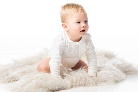 Photo pour Couper l'enfant à quatre pattes sur fourrure sur fond blanc - image libre de droit