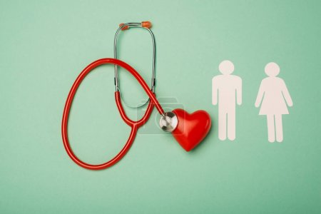 Top view of stethoscope, red heart with male and female icons on green background, world health day concept