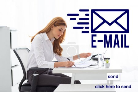 Photo for Side view of businesswoman working with papers and charts at office table, e-mail illustration - Royalty Free Image