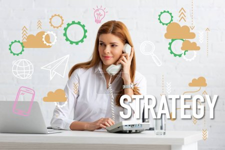 Photo for Successful businesswoman talking on phone at table with glass of water and laptop, strategy illustration - Royalty Free Image