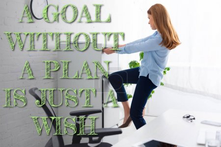 Photo for Side view of businesswoman trying to opening cabinet driver near table in office, a goal without a plan is just a wish illustration - Royalty Free Image