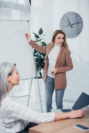 Photo pour Foyer sélectif de souriant femme d'affaires pointant vers les objectifs lettrage et détourner les yeux - image libre de droit
