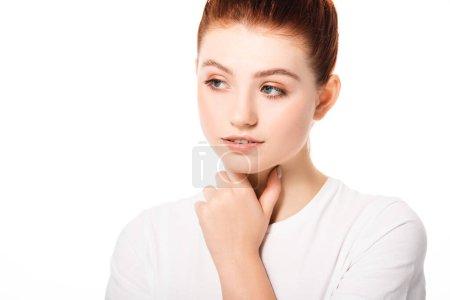 Photo pour Belle adolescente réfléchie avec la peau propre, isolée sur blanc - image libre de droit