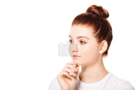 Photo pour Belle adolescente pénible à la peau propre, isolée sur - image libre de droit