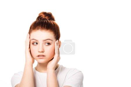 Foto de Una adolescente atractiva con piel limpia perfecta, aislada en blanco. - Imagen libre de derechos