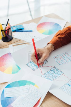 Cropped view of designer with marker developing user experience design with templates and color circle on table
